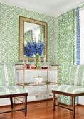 Thibaut New Haven Stripe Linen in Turquoise